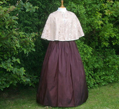 Ladies Victorian / Edwardian 2 pc costume /fancy dress skirt and cape cr & brown