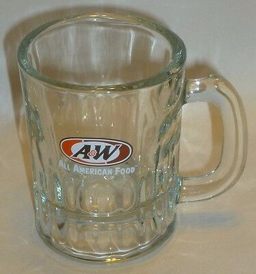 "A & W Mug Glass Small 3.2"" tall 2.2""diameter All American Food Cup"