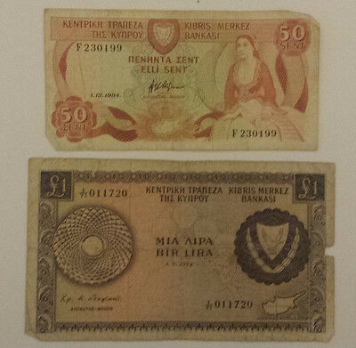 BANKNOTES of CYPRUS - £1 one POUND & 50 CENTS - 2 Cypriot bank notes
