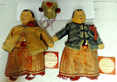 """Michael Lee Micale Chinese Character 10"""" Dolls (Bride & Bride's Maid) 1940's"""