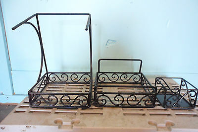 Lot Of 3 Steel Framed Coffee, Hot Tea, Hot Chocolate   Condiment Stand