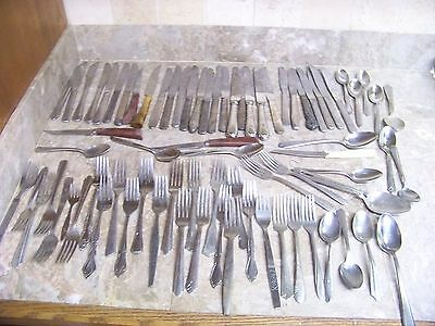 Vtg 77 Pcs STAINLESS FLATWARE FORKS SPOONS  KNIVES Silverware Lot   Craft