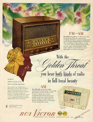 "RCA Victor Table Radios with the ""Golden Throat"" Vintage Print Ad 1947 Original"
