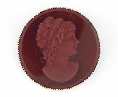 * c.1920 ANTIQUE/VINTAGE RED CARNELIAN CAMEO GOLD FILLED PIN/BROOCH
