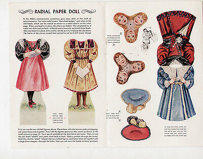Vintage JACK and JILL magazine paper dolls July 1958 RADIAL/CHANGING FACE uncut