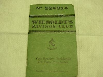 Wieboldts Savings Book  Antique Vintage Banking Book  Chicago  Marshall Fields