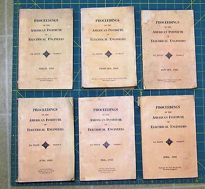 6 Antique 1918 Books: PROCEEDINGS OF AMERICAN INSTITUTE ELECTRICAL ENGINEERS