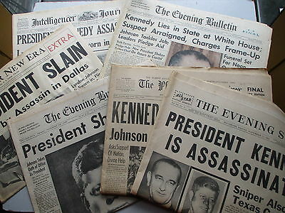 HUGE Newspapers Lot - SIX From November 22 & 23, 1963 - Kennedy Assassination