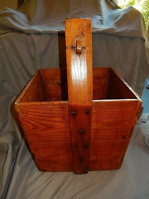 Chinese Rice Bucket Box Handmade Wood Antique • CAD $151.00