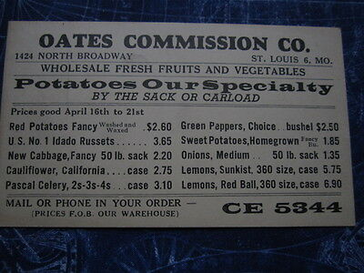 Early Oates Commission Company St Louis MO Missouri Advertising Postcard hj957