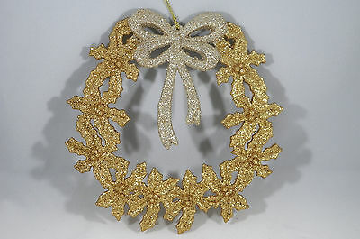 Gold Glittered Wreath with Bow Christmas Tree Ornament new holiday