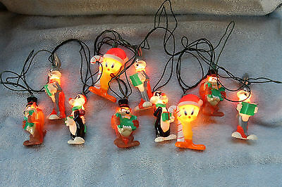 Looney Tunes Set of 10 Christmas Holiday Lights Taz Bugs Bunny Sylvester + Works