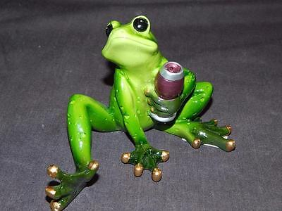GANZ Green Ceramic Comical Frog Holding Glass of Wine