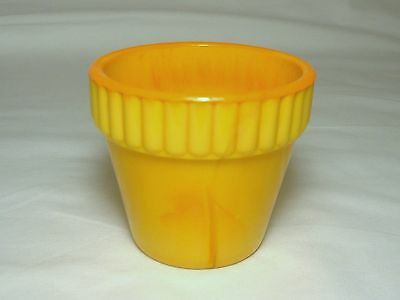 Vintage Akro Agate Glass #300 Flower Pot Orange Pumpkin 2 5/8""