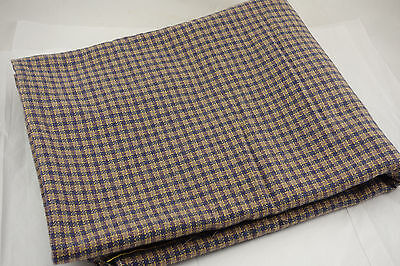 "Vintage Wool or Blend Fabric 2.6 yds Tweed Check 60""W Teal Purple Taupe Yellow"