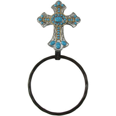 Metal Wall Mount Turquoise Cross Towel Ring/Holder/Hanger Western Bathroom Decor