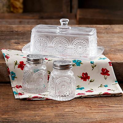 Pioneer Woman Adeline Clear Pressed Glass Butter Dish Salt Pepper Shakers NEW E4