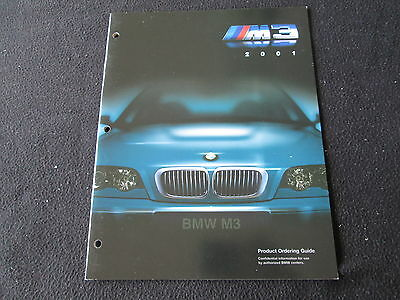 2001 BMW M3 DEALER-ONLY Brochure E46 Product Ordering Guide Sales-person Catalog