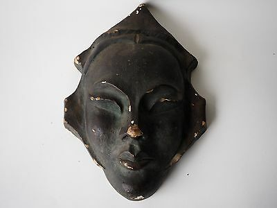 Vintage Early 1900 Cast Figural Head Face Unknown Culture Metal Indian Hindu Wow