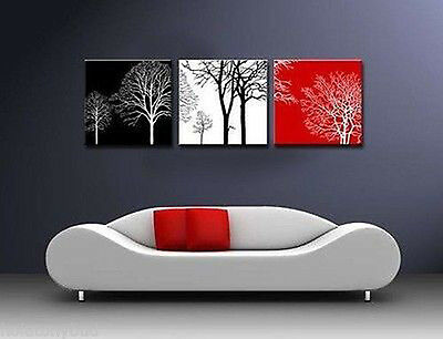 "MODERN ABSTRACT CANVAS ART OIL PAINTING ""black white red TREE"" (No Frame)  002"