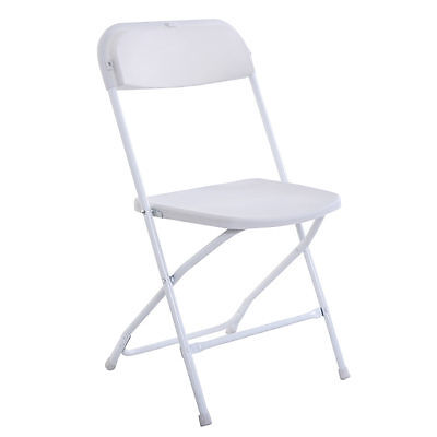 (5) Commercial Plastic Folding Chairs Stackable Wedding Party Event Chair White