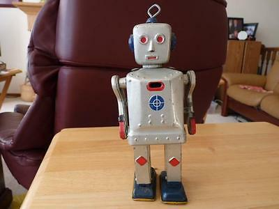 Vintage Original 1950's Sparky Mike Robot Tin Lithograph Wind-Up Toy Japan Rare