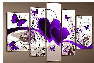MODERN ABSTRACT WALL DECOR ART CANVAS OIL PAINTING-Purple Heart Love (No Frame)