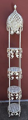 Antique Wrought Iron Shabby Cottage Garden Chic Flower Pot 6' Shelf Gazebo Tower