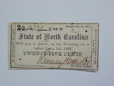 Civil War Confederate 1861 25 Cents Note Raleigh North Carolina Paper Money NC