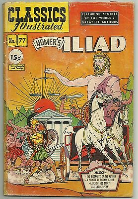 HOMER'S ILIAD, Classics Illustrated #77 (First Printing, Canadian?) 1950
