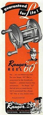 "Ranger 60 Reel ""Guaranteed for Life"" Collectible Vintage Ad   1947"