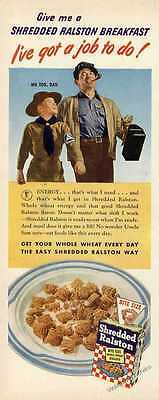 Shredded Ralston For Breakfast WWII Cereal Ad 1943 Original