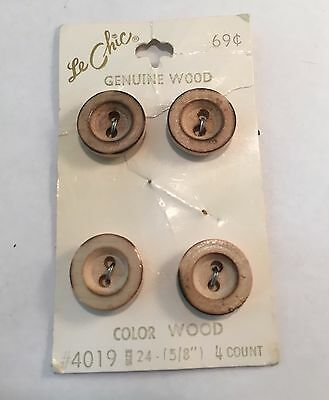 Set of 4 Wood Circle Buttons on Original Store Card
