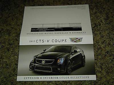 2015 Cadillac Cts-V Coupe Color Chip Chart Brochure Mint!