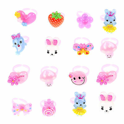 Wholesale 20Pcs Mixed Lots Cute Cartoon Children/Kids Resin Lucite Rings Gift