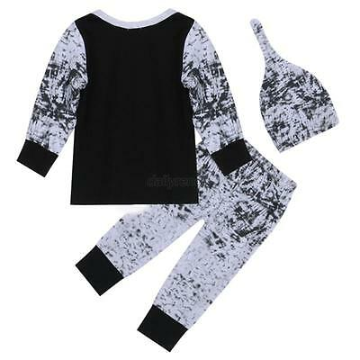 Newborn Baby Boy Girl Pullover Tops + Long Pants Hat 3PCS Outfits Set Clothes