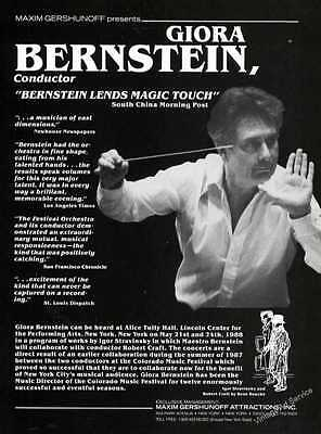 """1988 Giora Bernstein Photo Conductor """"A musician of vast dimensions"""" Trade Ad"""