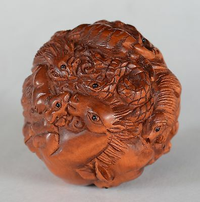 Chinese Carved Wood Zodiac Animal Ball Signed