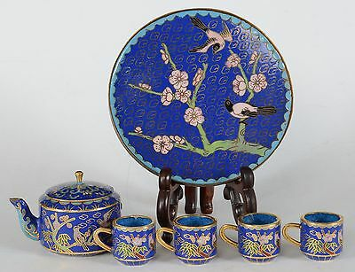 Chinese Miniature Cloisonne Tea Set Teapot Four Cups Tray