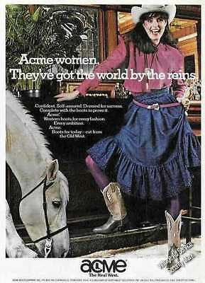 1981 Acme women world by the reins Vintage Boots Ad
