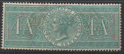 """India QV 4 anna green """"Government of India"""" stamp."""