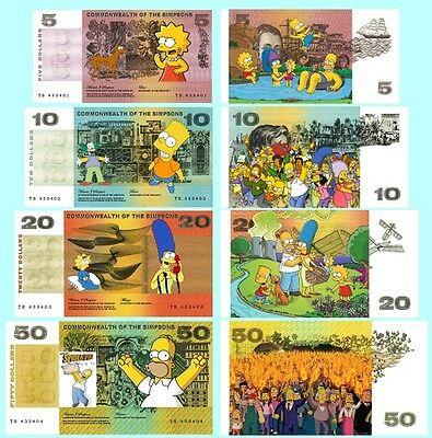 Set Of 4 Simpsons Fun Australian  Notes 2 Sided