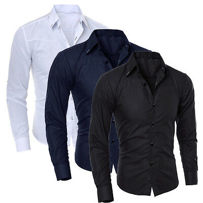 Men's Stylish Slim Fit Long Sleeve Formal Casual Dress Shirt T-Shirts Tops Tee
