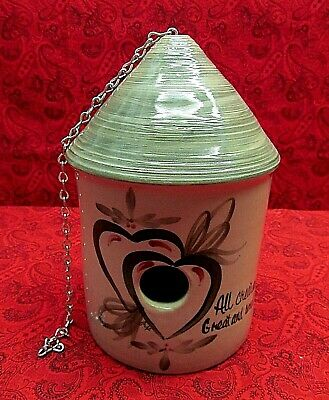 "Yesteryears Pottery Usa Hand Turned Birdhouse ""all Creatures Great And Small"""