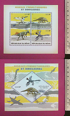 PREHISTORIC DINOSAURs/BIRDs 2015 BENIN perf Sheetlet CTO stamped Excellent NH UK