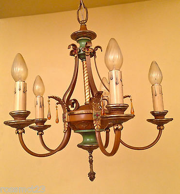 Vintage Lighting delicious 1920s polychrome chandelier