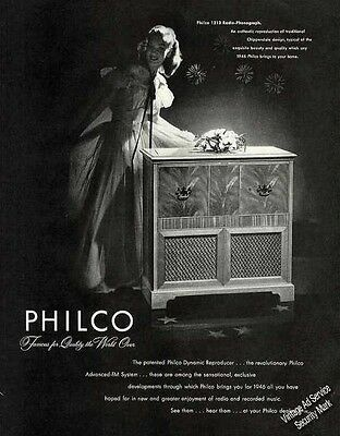 "Philco 1213 Radio-Phonograph ""Famous for Quality"" Vintage Ad   1946"