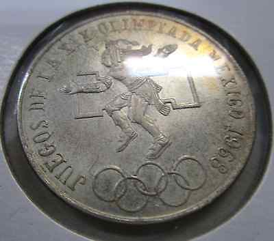 1968 Mexico  Olympics Large Silver 25 Peso Coin UNC