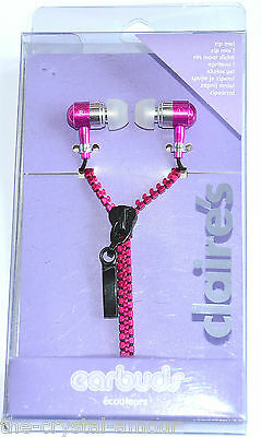 Claire's.  Zip Me, Fushia Pink Earbuds, Earphones. Working Zip