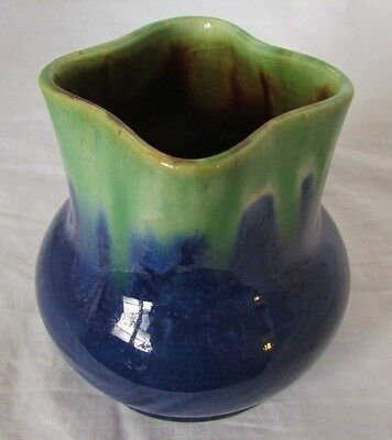 Signed Remued Early Series 199 Small Flask Bulb Base Square Mouth Blue Green